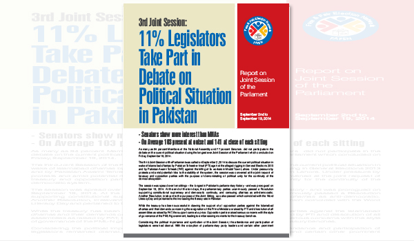 FAFEN's Report on 3rd Joint Session of the Parliament